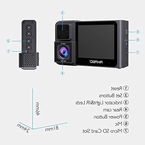 AKASO Dual 1080P60 FHD, & Rear Dual Wide Angle, 1080P, Parking Mode, Support 128GB