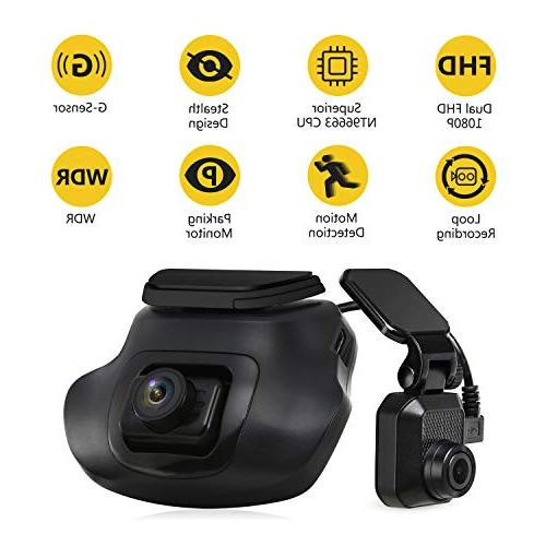 Dual Dash Cam, Z-EDGE S3 1440P Front 1080P 150 Degree Wide Dual Car Camera, Front Rear Dash Cam, Dashboard Camera Included