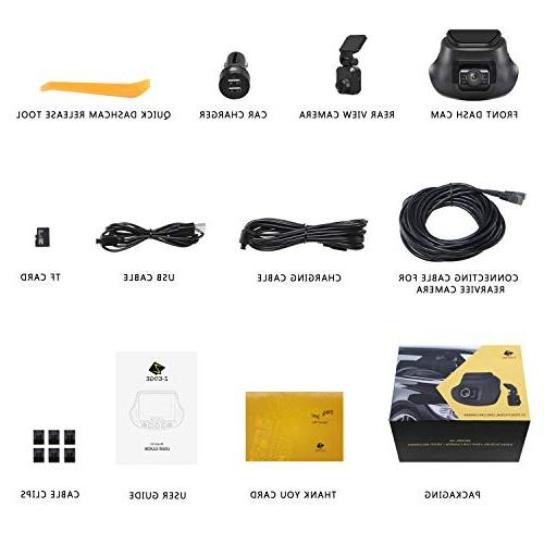 S3 Ultra Front & 1080P 150 Angle Dual Car Front Rear Cam, Dashboard Camera G-Sensor, WDR, 16GB Included