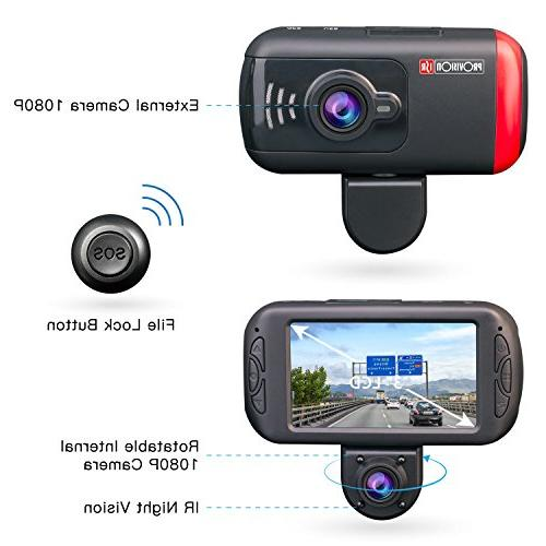 Rotatable Inner Camera, Vision, Wireless SOS Included, Supports 64GB Cards, HD for Rideshare Parking Guard, Sensor