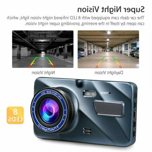 Dual Lens HD Car Dash Cam Video Battery