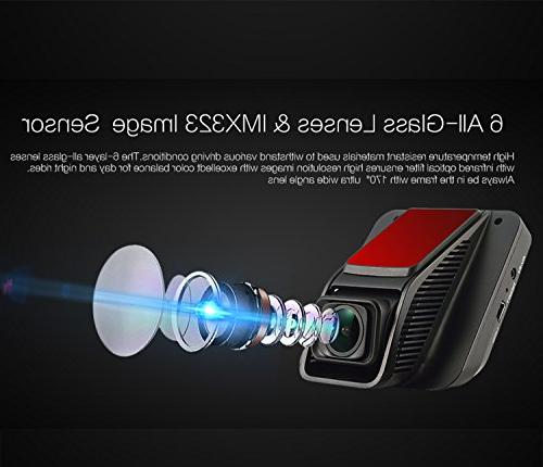 FHD Cam, Dashboard Camera 2.45 Angle with WDR, Recording, G-Sensor