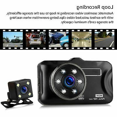 "3"" Dual Lens Dash Cam Car Rear Camera G-sensor 170"