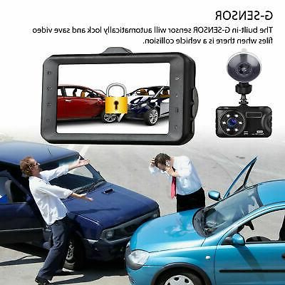 "3"" Dual Dash Cam Front and Rear Camera G-sensor 170 Angle"