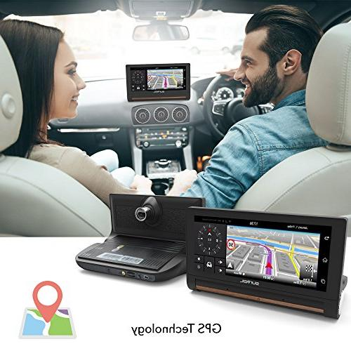 GPS Touchscreen Dashcam Navigation Built-in Front and - Bluetooth Wireless FM Radio and Battery