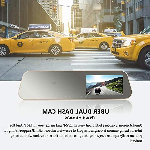 VSYSTO Rearview Dual Cam Front Ultra and Camera 1280x720P Vision, 4.3'' Car Lyft Taxi