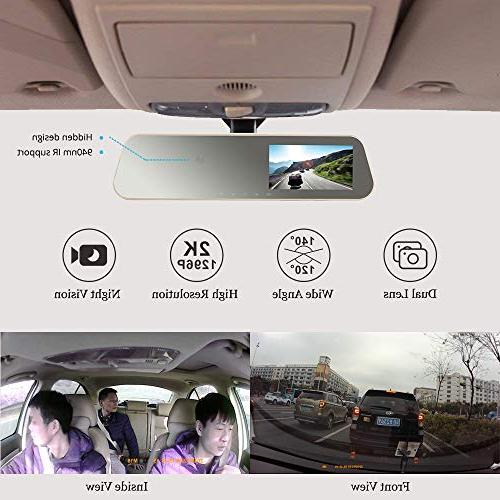 VSYSTO M16 Rearview Dual Dash Ultra and Camera Vision, Camera for Uber Lyft
