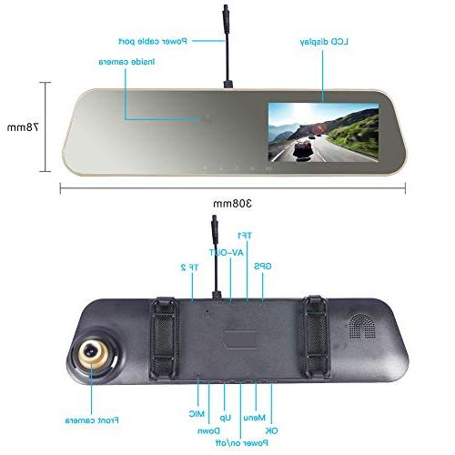 VSYSTO M16 Rearview Dual Cam Front Ultra 2K 2304x1296P and Hidden Camera Vision, Camera Uber Lyft Taxi