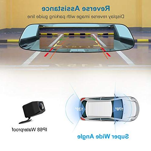 "Mirror Cam, 7"" Dash Cam External GPS, Touch 1080P and Rear 290° Angle,"