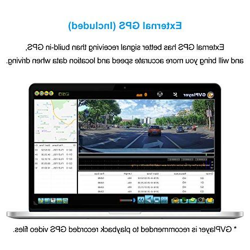 """Mirror Cam, 7"""" Dash Cam GPS, IPS Touch 1080P Front 720P Rear Angle,"""