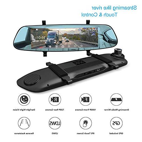 "Mirror Cam, 7"" Streaming GPS, 1080P Front Rear Camera 290° Angle, HDR"
