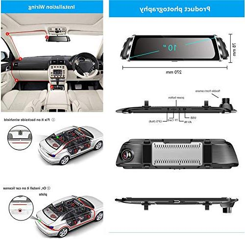"""Mirror Dash Backup Camera 10"""" Touch Rearview Front Dual Lens Waterproof"""
