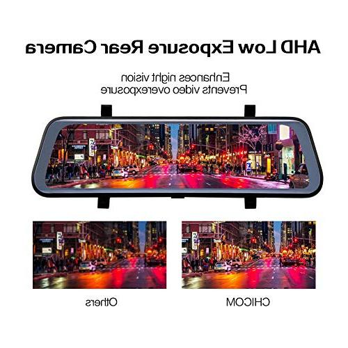 CHICOM V21 9.66 inch Full Screen 170° Camera;1080P 140°Wide Angle HD Rear View Photography, 24-Hour