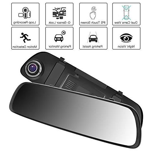 ILIHOME Mirror Dash 7 Touch Screen 1080P Cam 6G Lens Front Rear Cam, Vision, WDR, Recording, Parking