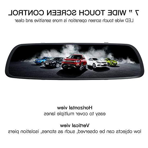 ILIHOME Dash Cam, 7 inch Touch Screen 1080P Dual Cam with 6G Front Cam and Waterproof Rear Cam, WDR, Loop Parking Mode