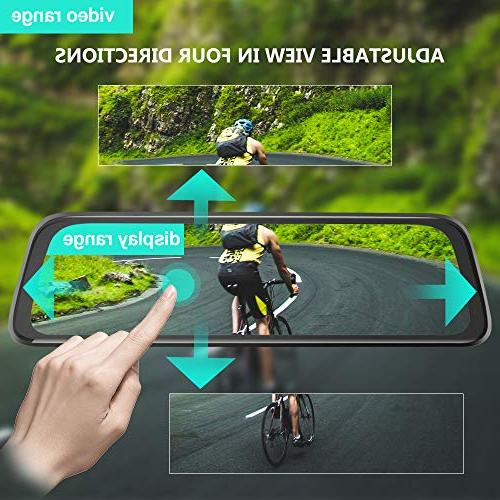 Mirror and Touch Rear View 1080P Dual Lens 170°Wide Angle Backup Camera Monitor