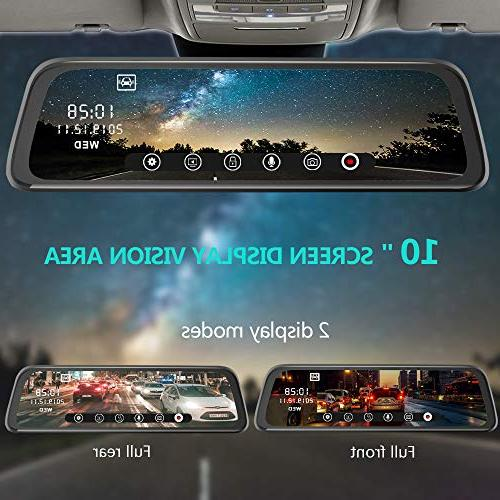 and Rear, 10 Touch Screen Front 1080P Rear 1080P Lens Backup G-Sensor Monitor Motion