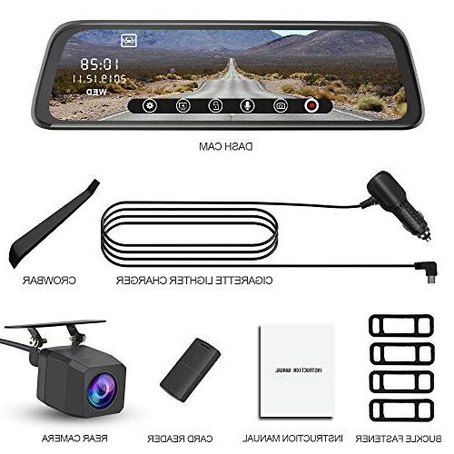 Mirror Cam and Rear, Touch Front 1080P Rear 1080P Lens Angle with Backup Camera Monitor