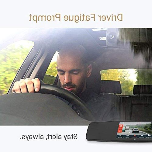 YI Mirror Dash Cam, Dual Camera APP, Rear HD Reverse Monitor,