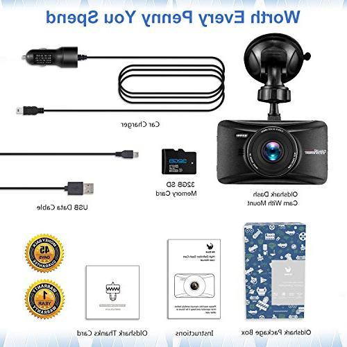 OldShark 1080p Dash Cam with Dashboard Camera with G-Sensor, Night Vision, WDR, Parking Loop