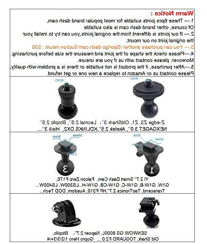 iSportgo S60 Mirror Mount 6 Different for Z-Edge, YI,KDLINKS X1,Falcon Zero F170HD,GoPro Hero and Most Other Dash Cameras