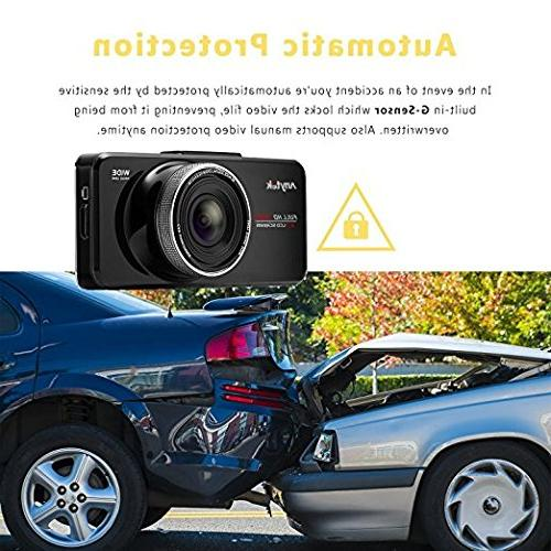 16GB Original Anytek@ FHD 2.7 inch Screen Best Dash Cams Car Dashboard Car 170 Car DVR WDR, Loop
