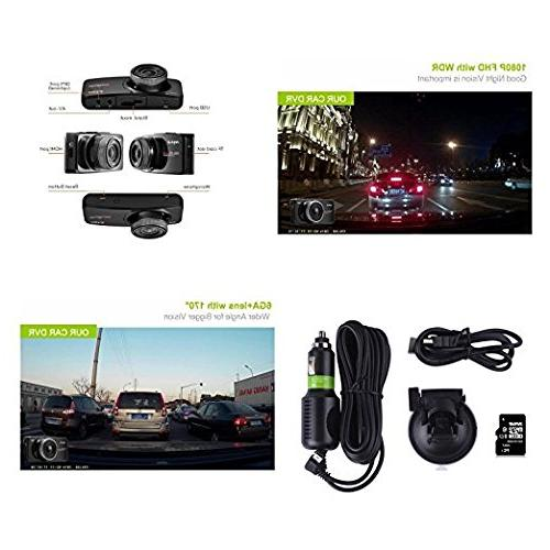 16GB TF Card+ Original Anytek@ 1080P inch Screen Dash Cams Dashboard Car DVR With WDR, Loop Recording.