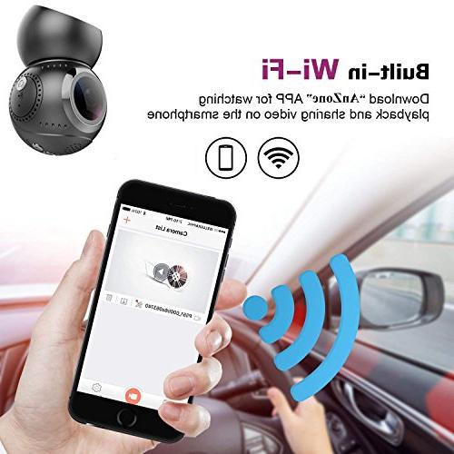 16GB Car Camera Vehicle Recorder 360° IPS Angle Built in GPS DVR, G-Sensor, Loop Parking
