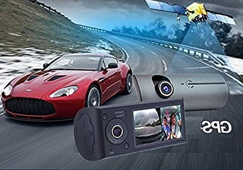 2.7 TFT LCD HD Front Dual Camera Dash Cam Recorder with Wide Lens, and Black