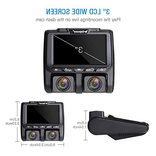 TOGUARD Cam Full Inside and Outside Camera Dash Cams LCD 340° Dashboard with Sony Parking for