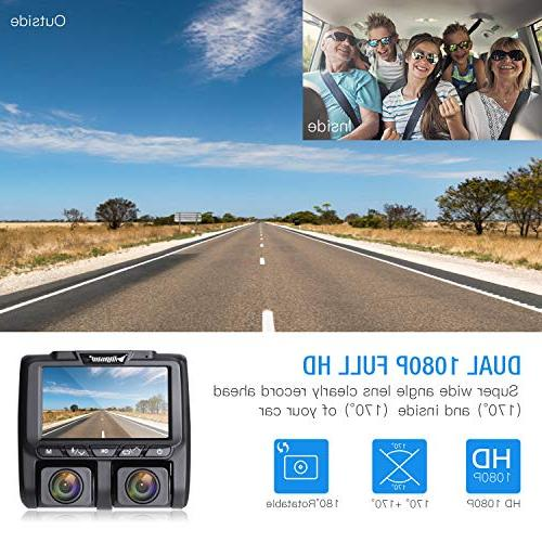 TOGUARD Uber Cam Full Inside and Outside Car Camera Dash Cams LCD 340° Parking Monitor, Motion for Lyft Car