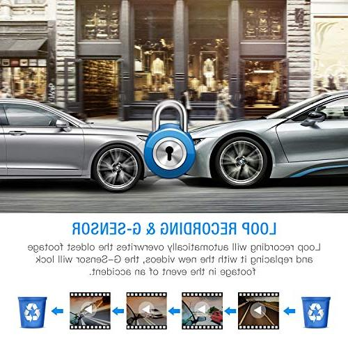 """TOGUARD Uber Cam HD 1080P+1080P Inside Outside Car Camera Dash Cams 3"""" LCD 340° with Sony Sensor, WDR, Parking Motion"""