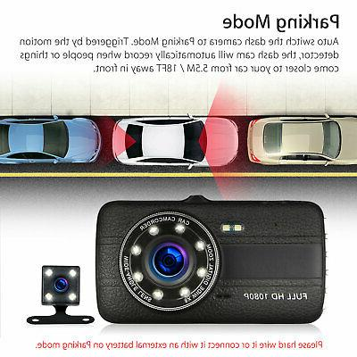 "4"" Vehicle HD Car Dashboard DVR Video Recorder Cam G-Sensor"