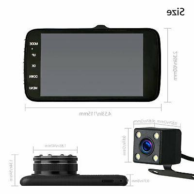 "4"" 1080P Dual Car DVR Recorder Dash + Rearview"