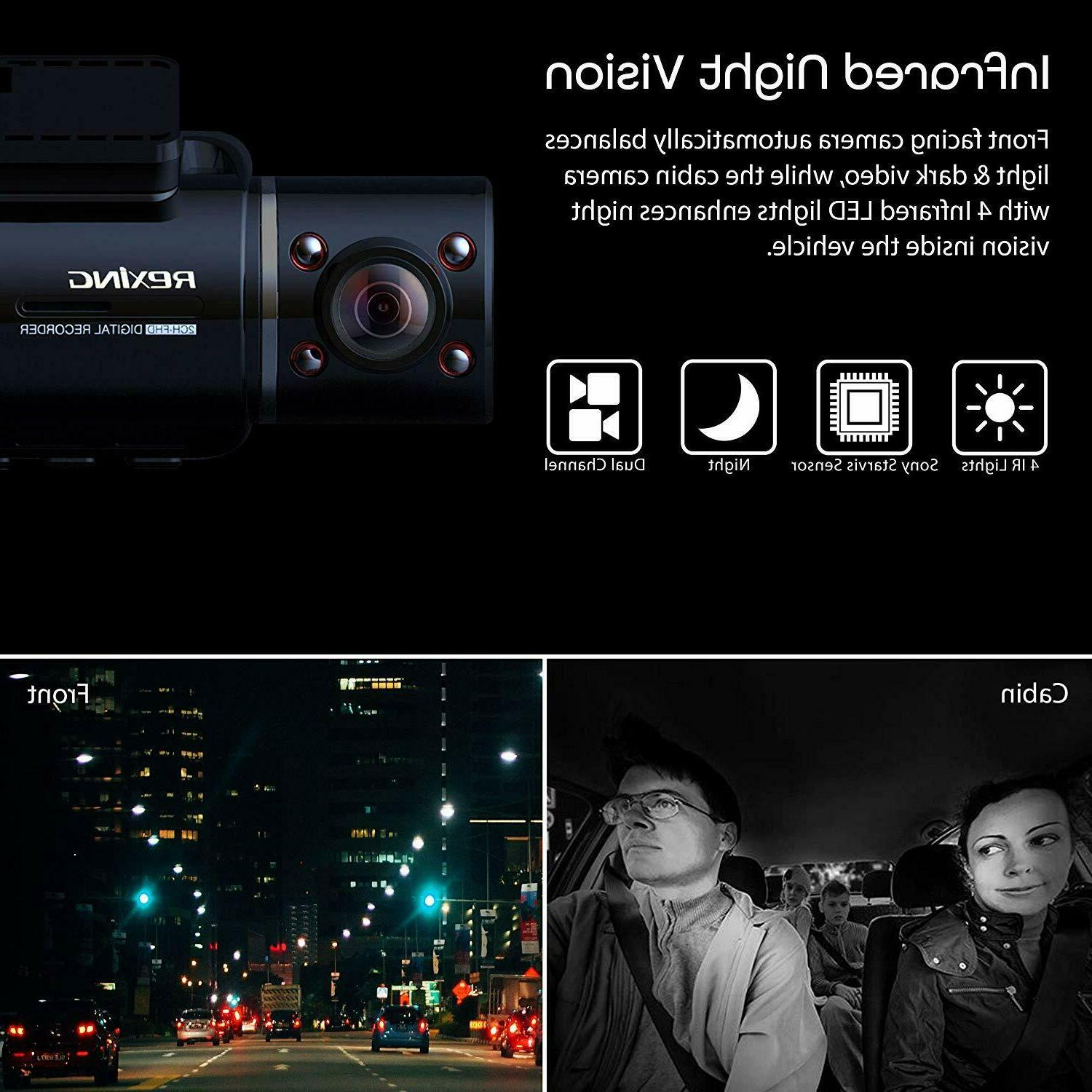 Rexing V3 Front and Inside Cabin Infrared Vision HD 1080p