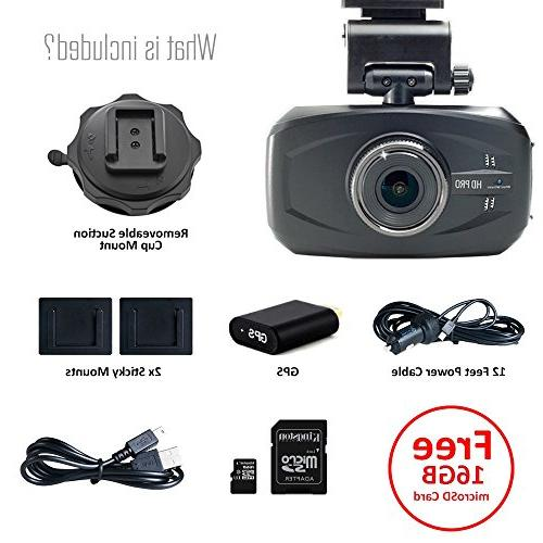 WheelWitness HD PRO Dash Cam SUPER 170 Lens Plug Play Camera LOOP w/ SD