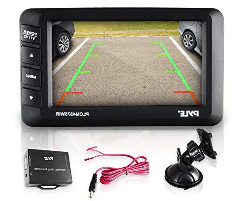 "Camera Rearview Reverse w/Distance Lines, 4.3"" LCD Screen, Video Color - Pyle"