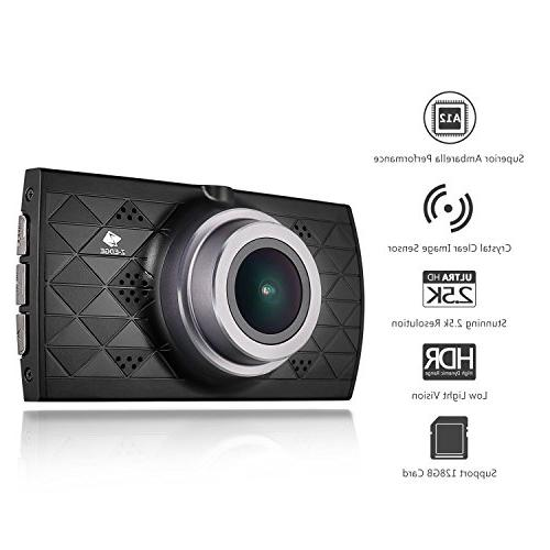 Z-EDGE Z3 Dash 1440P HD Dashboard Camera with A12 Chipset, 3-Inch Super HDR Night Vision, Angle and 32GB Card Included