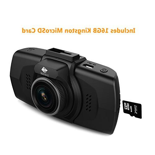 Z-EDGE 2K Cam, HD Dashboard Camera Recorder Ambarella Chip, TF Card Included, HDR & Night Angle, Recording, and