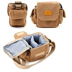 Light Brown Small Sized Vintage Canvas Carry Bag - Compatibl