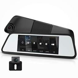 AUTO-VOX M8 Touch Screen Mirror Dash Cam,1296P FHD Front Rea