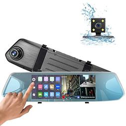 "Mirror Dash Cam - Earto 7"" Touch Screen Backup Camera, Front"