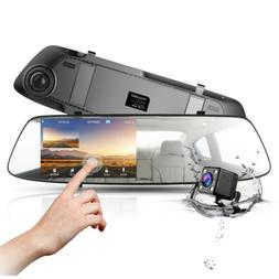 "TOGUARD Mirror Dash Cam 4.3"" TouchScreen HD1080P Dual DVR Re"
