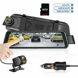 "Mirror Dash Cam 9.66"" HD Backup Camera, Dash Cam Front and R"