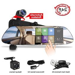 Mirror Dash Cam,Panoramic 1080P Front and Rear Car Dash Came
