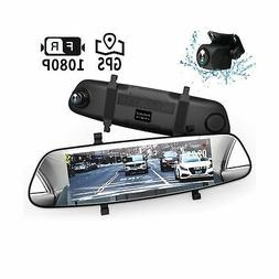 "Mirror Dash Cam, DuDuBell 7"" Streaming Media Dual Dash Cam w"