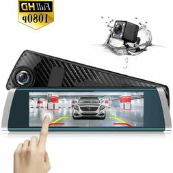 Mirror Dash Cam Backup Camera 7-inch Full Touch Screen Front