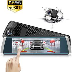 Mirror Dash Cam Backup Camera 7 inch Full Touch Screen Front