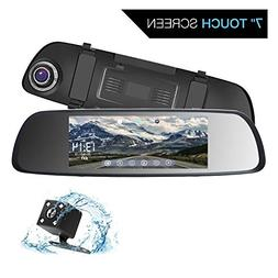 ILIHOME Mirror Dash Cam, 7 inch Touch Screen 1080P Dual Lens
