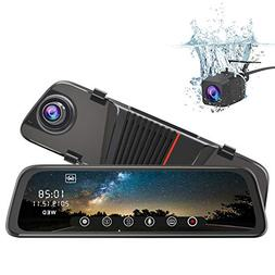 Mirror Dash Cam Front and Rear, 10 Inch Touch Screen Front 1